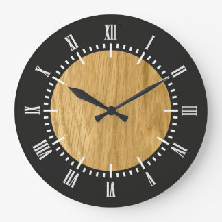 Real Scanned Crown Cut Oak Veneer Large Clock