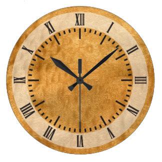 Real Scanned  Pommele Sapele Veneer Woodgrain Large Clock
