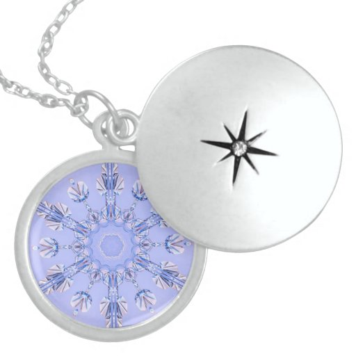 Real Snowflake Fractal 7 Round Locket Necklace