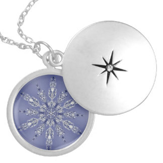Real Snowflake Fractal Blue 2 Round Locket Necklace