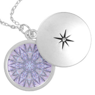 Real Snowflake Fractal Lavender Round Locket Necklace
