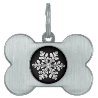 Real snowflake pet tag