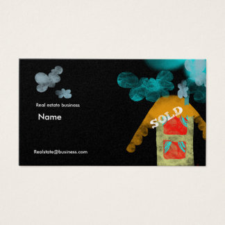 Real state architecture house clouds business card