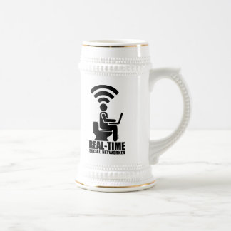 Real-time social networker beer stein