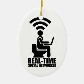Real-time social networker ceramic ornament