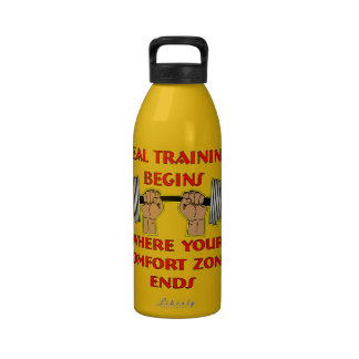 Real Training Begins Where Your Comfort Zone Ends Water Bottles