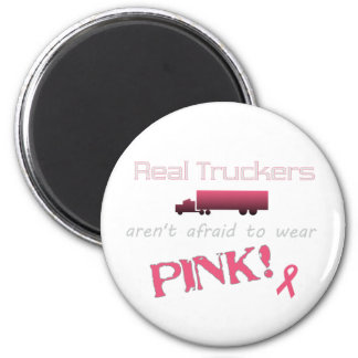 Real Truckers Wear Pink - Breast Cancer 2 Inch Round Magnet