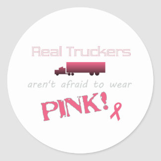 Real Truckers Wear Pink - Breast Cancer Classic Round Sticker