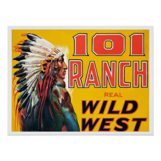 Real Wild West Show, 1910. Vintage Advertising Poster