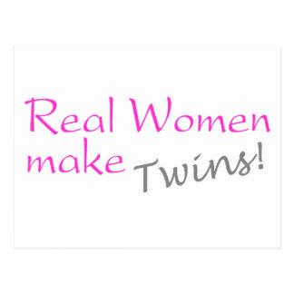 Real Woman Make Twins (Pink) Postcard