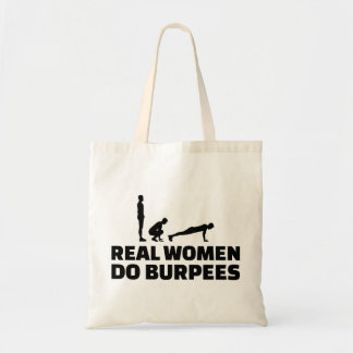 Real women do burpees tote bag