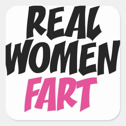 Real women fart square sticker