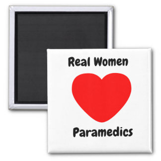 Real Women Heart Paramedics 2 Inch Square Magnet