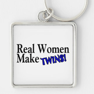 Real Women Make Twins (B) Silver-Colored Square Keychain
