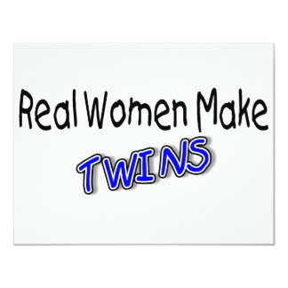 Real Women Make Twins Blue Personalized Invites