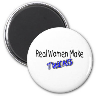 Real Women Make Twins Blue 2 Inch Round Magnet