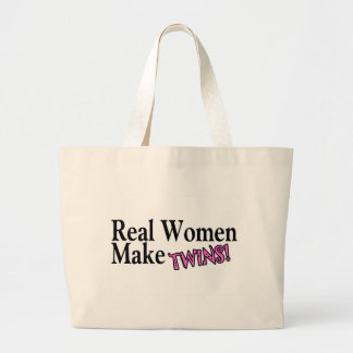 Real Women Make Twins (Pink) Canvas Bags