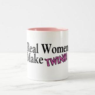 Real Women Make Twins (Pink) Two-Tone Coffee Mug