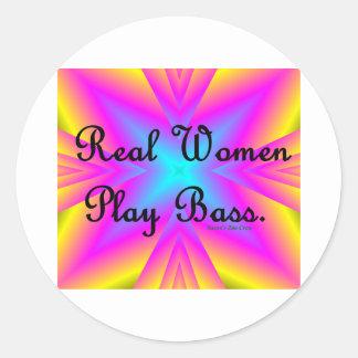 Real Women Play Bass Classic Round Sticker