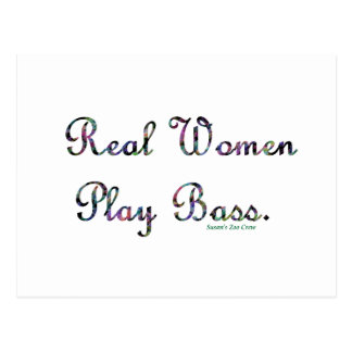 Real women play bass text design, quilted. postcard