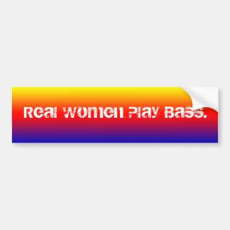 Real Women Play Bass. Yellow to blue gradient Bumper Sticker