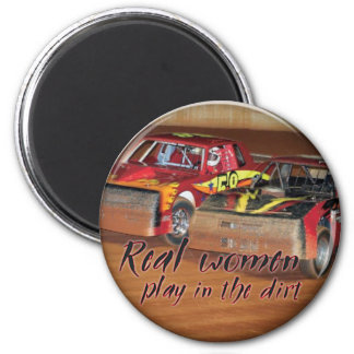 real women play in the dirt 2 inch round magnet