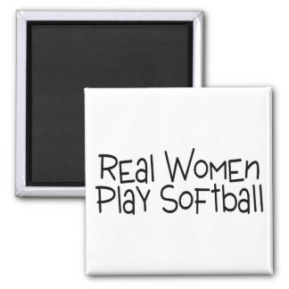 Real Women Play Softball 2 Inch Square Magnet