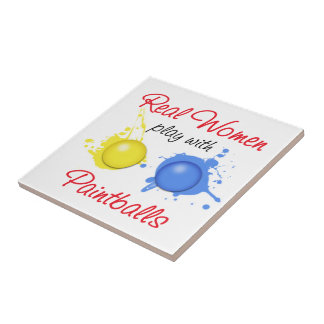 Real Women Play with Paint Balls Ceramic Tile