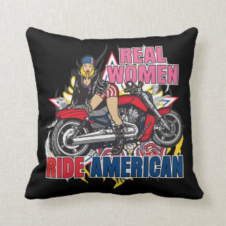 Real Women Ride American Motorcycles Couch Pillow Pillows