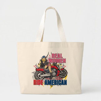 Real Women Ride American Motorcycles Tote Bag Bags