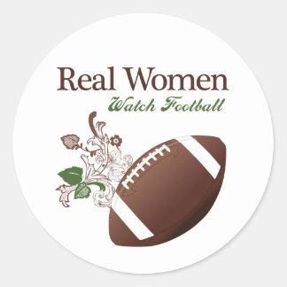 Real women watch football classic round sticker