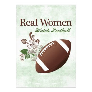 Real women watch football personalized invitations