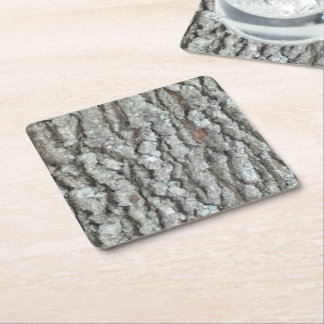 Real Wood Camouflage Oak Tree Bark Camo Square Paper Coaster