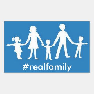 #realfamily pegatina, valores tradicionales de la pegatina rectangular