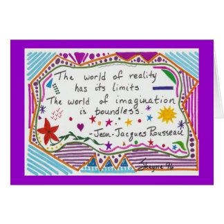 Realidad e imaginación tarjeta de felicitación