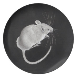 Realism Drawing: Little Grey Mouse on Black Dinner Plates