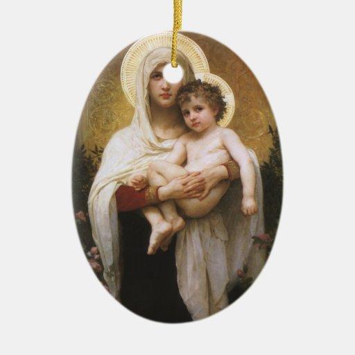 Realismo del vintage, Madonna de los rosas, Adorno Navideño Ovalado De Cerámica