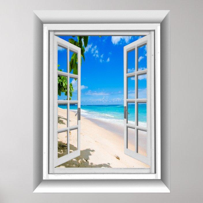 Realistic 3d Beach Scene Fake Window View Poster Zazzle Com