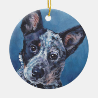 realistic australian cattle Dog Fine Art Painting Ceramic Ornament