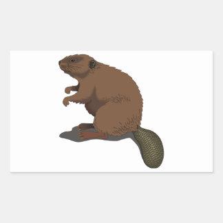 Realistic Beaver Rectangular Sticker