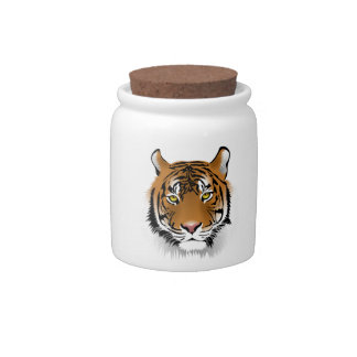 Realistic Bengal Tiger Face Candy Dish