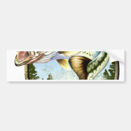 Realistic Big Mouth Bass Jumping. Bumper Sticker