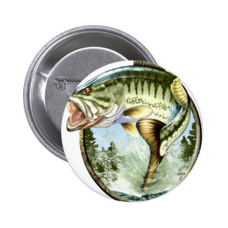 Realistic Big Mouth Bass Jumping. Button