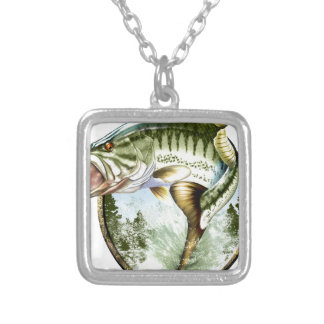 Realistic Big Mouth Bass Jumping. Silver Plated Necklace