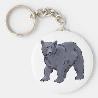 realistic black bear design basic round button keychain