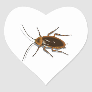 Realistic Brown Cockroach Insect Heart Sticker