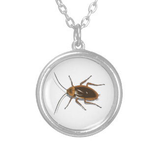 Realistic Brown Cockroach Insect Round Pendant Necklace