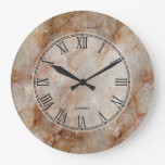Realistic Brown Faux Marble Stone Pattern Wall Clocks