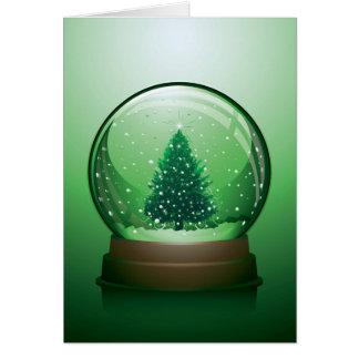 Realistic Christmas Snow Globe Greeting Card