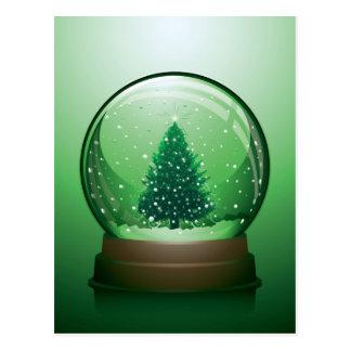 Realistic Christmas Snow Globe Postcard